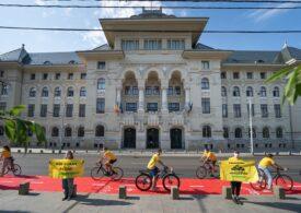 Protest Greenpeace în fața Primăriei Capitalei. Activiștii cer mai multe piste de biciclete pentru reducerea poluării