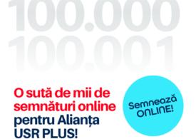Alianţa USR-PLUS a strâns 100.000 de semnături online pentru alegerile locale