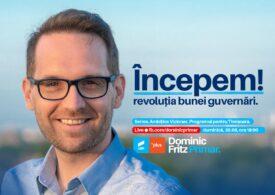 Candidatul USR-PLUS la Primăria Timișoarei, Dominic Fritz, promite o altfel de revoluție