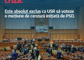 USR anunță că nu votează moțiunea de cenzură a PSD: Cum ar putea fi sănătos pentru ţară să dai jos guvernul în plină pandemie?