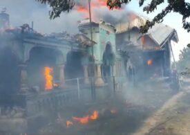 Patru gospodării au ars în Olt într-un incendiu izbucnit de la un televizor defect (Video)