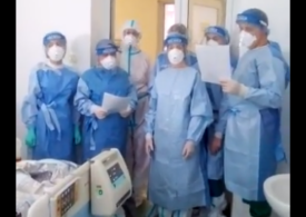 Cadrele medicale de la Spitalul Babeș din Timișoara au colindat pacienții cu COVID-19 (Video)