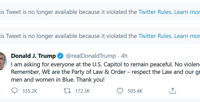 Twitter i-a suspendat contul lui Trump, iar mesajele lui încep să dispară și de pe Facebook și YouTube, catalogate ca mincinoase și periculoase