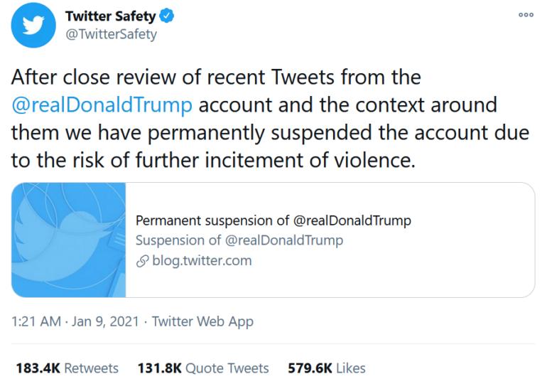 Twitter i-a suspendat permanent contul lui Trump din cauza riscului de a continua incitarea la violenţă