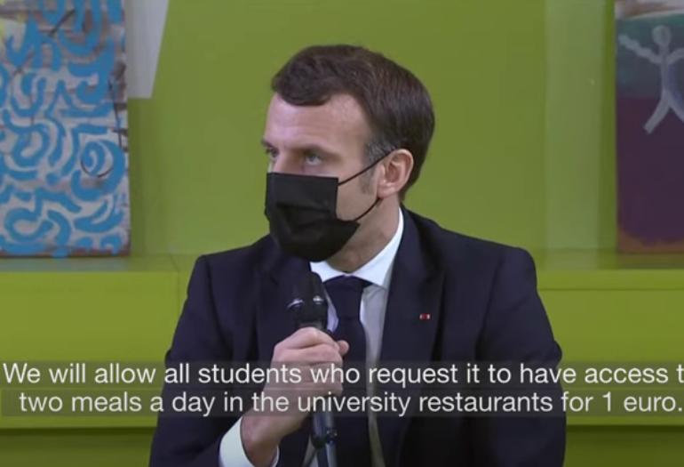 Macron le promite studenților două mese pe zi la un euro și vouchere pentru consiliere psihologică