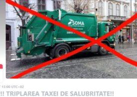 Protest la Sibiu faţă de schimbarea modului de calcul al taxei de salubrizare, care se majorează pentru unii