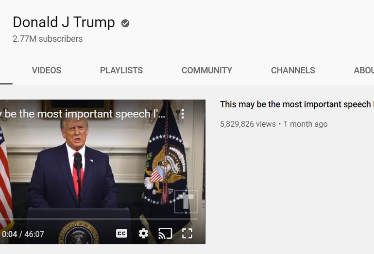Și YouTube i-a blocat canalul lui Donald Trump