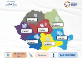 Aproape 150.000 de vaccinuri AstraZeneca ajung azi în România. Până acum, am primit 2,1 milioane de doze