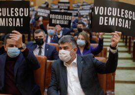 Social-democrații protestează în Parlament și cer demisia lui Voiculescu. PSD depune săptămâna viitoare o moţiune simplă împotriva ministrului (Foto)