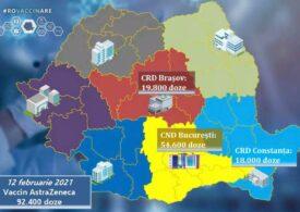 A doua tranșă de vaccin AstraZeneca ajunge astăzi în România. Până acum s-au programat peste 100.000 de persoane