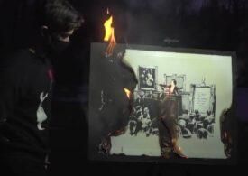 Un Banksy a fost vândut cu 380.000 de dolari chiar dacă a fost ars