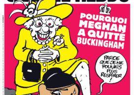 Revista Charlie Hebdo e supusă unui tir de critici după o caricatură cu regina Elisabeta şi Megan Markle