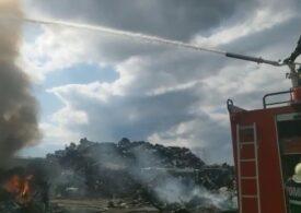 Incendiu puternic la un depozit de deșeuri din Arad (Video)