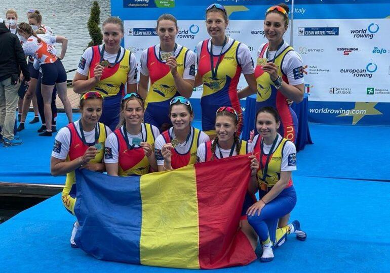 România obține încă o medalie de aur la Europenele de canotaj, la proba regină de 8 plus 1 feminin
