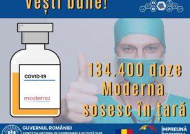 Încă 134.400 de doze de vaccin Moderna vin astăzi în România