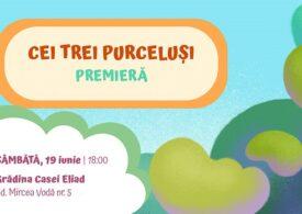 Teatrul Ion Creangă vă invită sâmbătă la spectacolul Cei trei purceluși