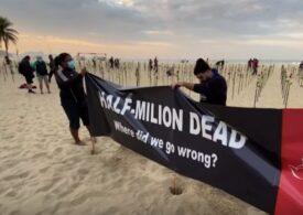 Protest cu sute de trandafiri pe plaja Copacabana, în ziua în care Brazilia a trecut de 500.000 de morți de COVID (Video)