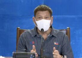 Președintele din Filipine își pune cetățenii să aleagă: Se vaccinează antiCovid sau merg la închisoare (Video)