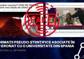 Fact checking-ul săptămânii: Informații pseudo-științifice asociate în mod eronat cu o universitate din Spania