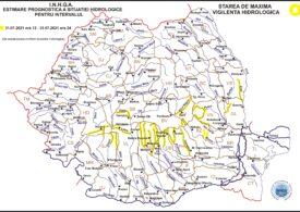 Cod galben de inundaţii pe râuri din nouă bazine hidrografice până sâmbătă, la ora 24:00