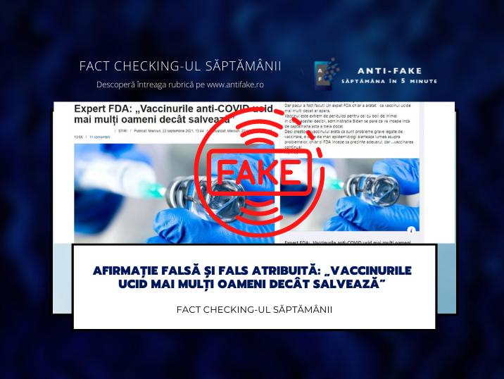 """Fact checking-ul săptămânii: Afirmație falsă și fals atribuită: """"Vaccinurile ucid mai mulți oameni decât salvează"""""""