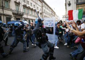 Proteste violente la Roma față de certificatul de vaccinare. Liderii au fost arestați (Galerie foto)