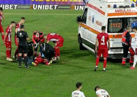 Alexandru Răuță, scos cu ambulanța de pe teren în timpul derbiului Dinamo - Rapid